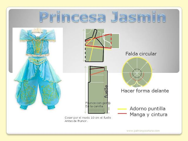 Patrón y costura : Princesa Jazmin DIY. Tema 159 | G\'s Sewing Pins ...