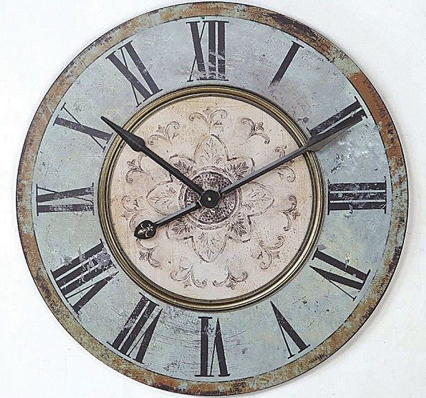 Huge Romantically Distressed Wall Clock Big Wall Clocks Distressed Wall Clock Oversized Wall Clock
