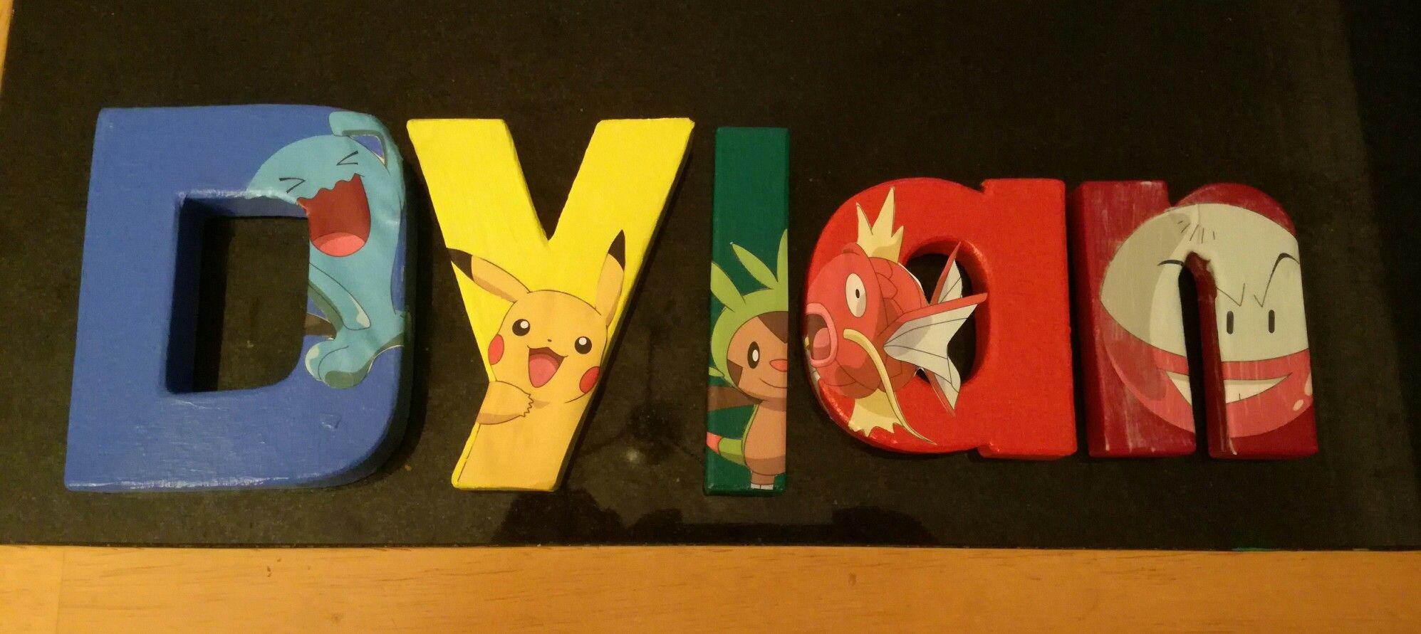 Homemade pokemon bedroom door sign painted letters from hobbycraft