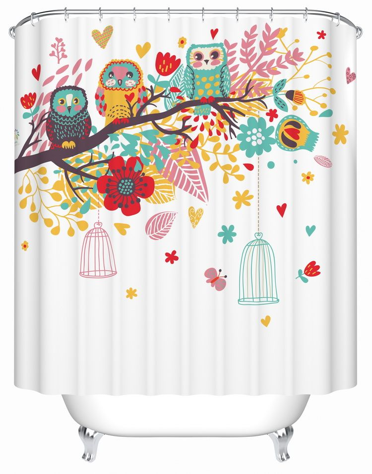 Aliexpress Com Buy Colorful Printed Owl Shower Curtain Cloth Hole Digging Popular Europe Bathroo Kids Shower Curtain Unique Shower Curtain Shower Curtain Art