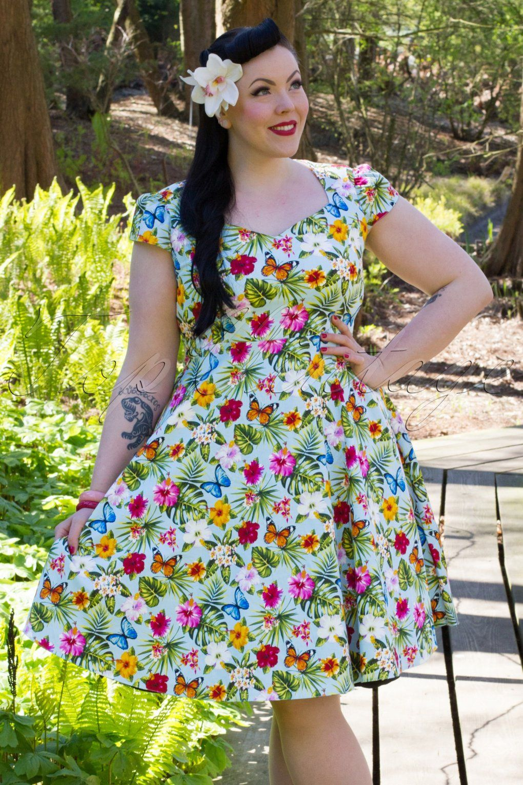 a860d3e6cc0 1950s Evie Summer Floral Swing Dress. Love this butterfly print.