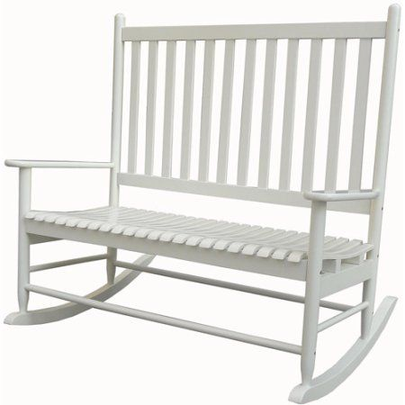 Incredible Mainstays Outdoor Wood Loveseat Rocker White Products Creativecarmelina Interior Chair Design Creativecarmelinacom