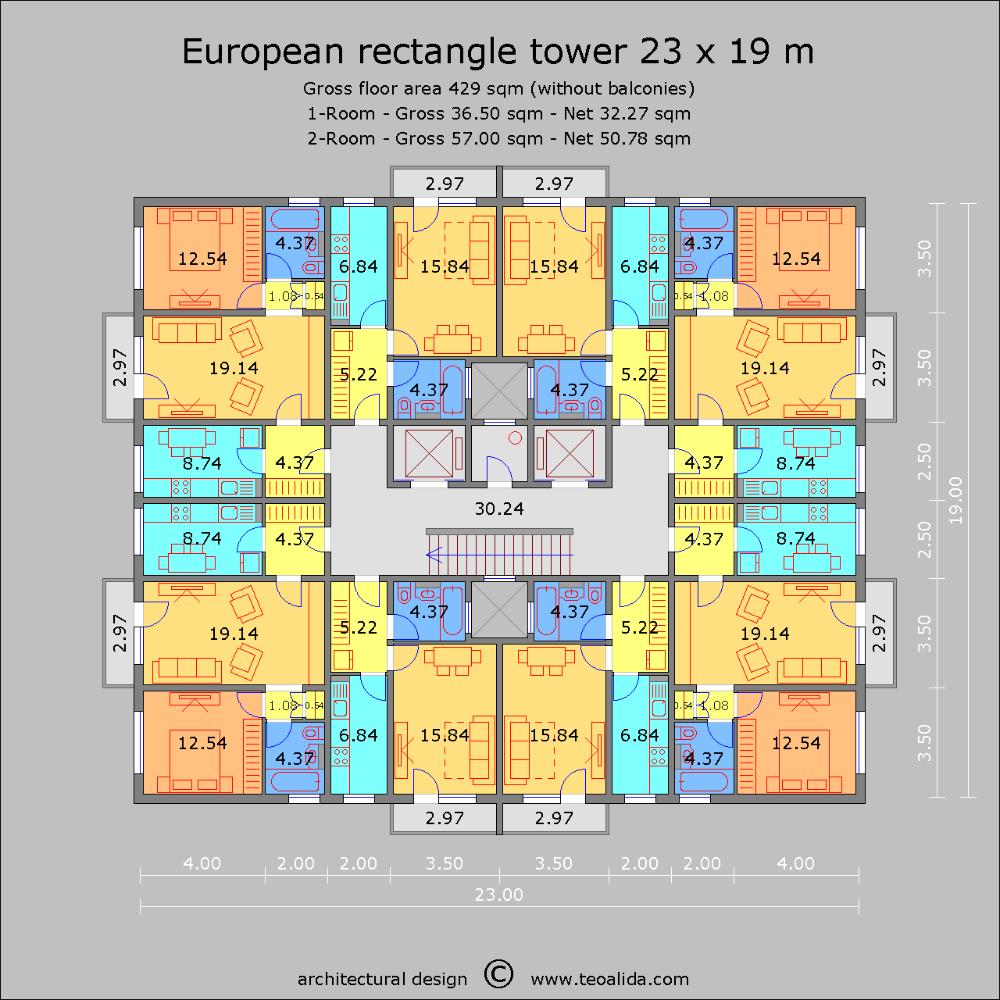 European Rectangle Tower Plan Maison Architecte Plan Architecte Plan Logement