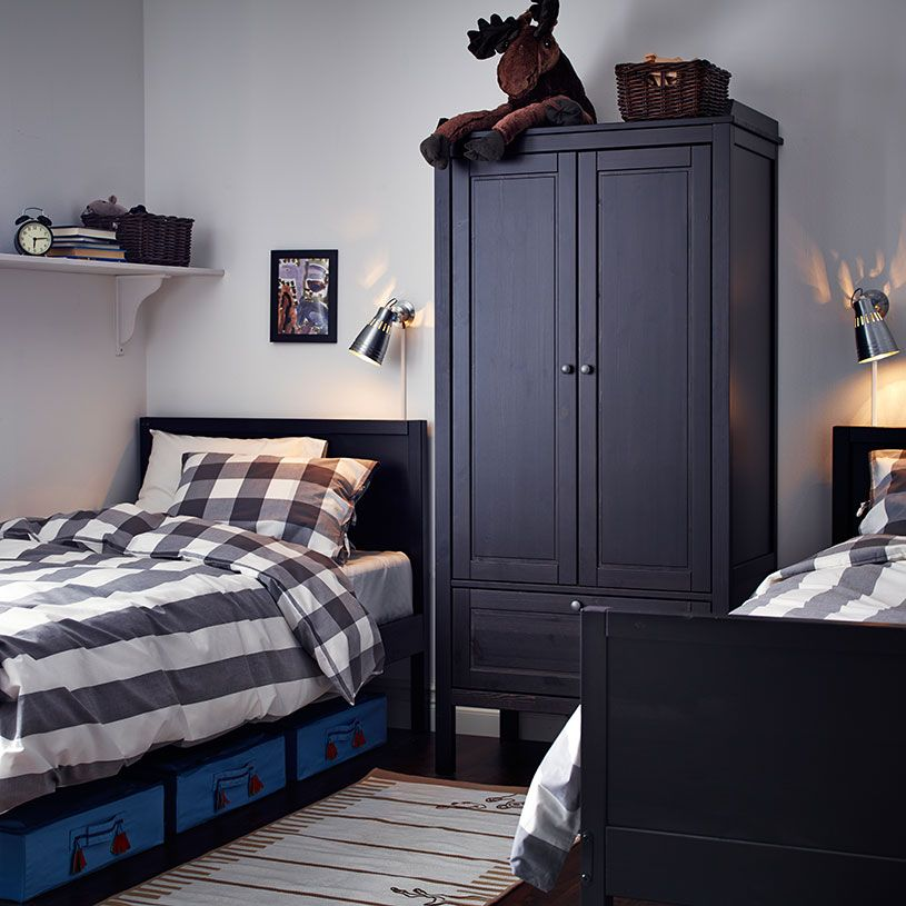 Possible layout for boy 39 s bedroom a black brown wardrobe - Childrens small bedroom furniture solutions ...