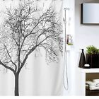 Shower Curtain Polyester Fabric Waterproof Bathroom 12 Hooks Tree Design Decor