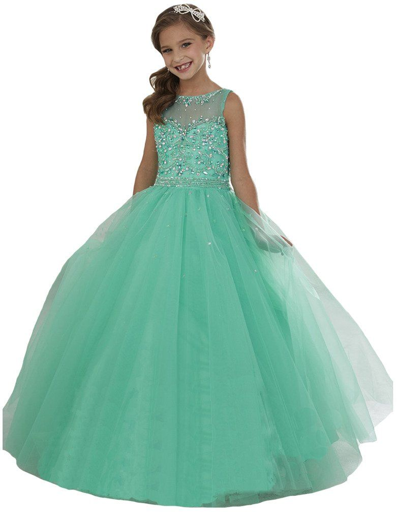 Wenli Girls\' Sheer Neck Beaded Rhinestones Pageant Dresses 8 US Mint ...