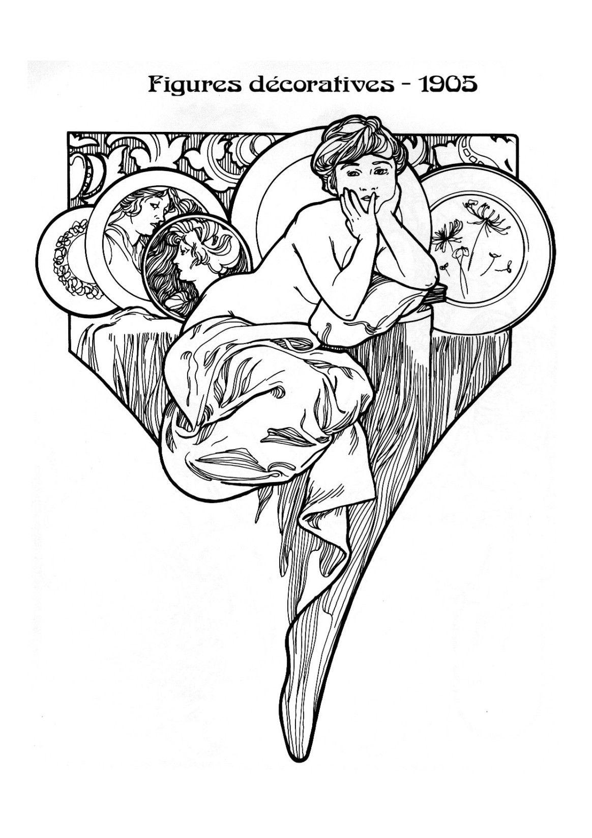 kleurplaat naar alfons mucha colouring picture amucha like figures decoratives 1905
