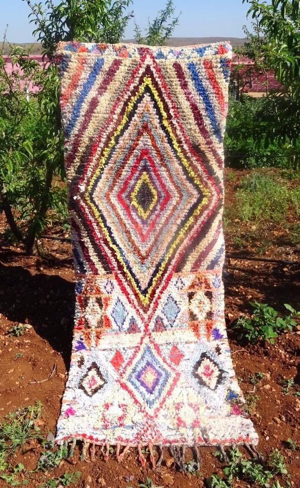 Authentic Handmade Moroccan Boucherouite Rug Carpet Tribal Runner 8 X 3 Ebay