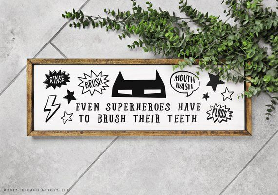 Fun Brush Your Teeth Bathroom Sign Kids Bathroom Sign Kids Bathroom
