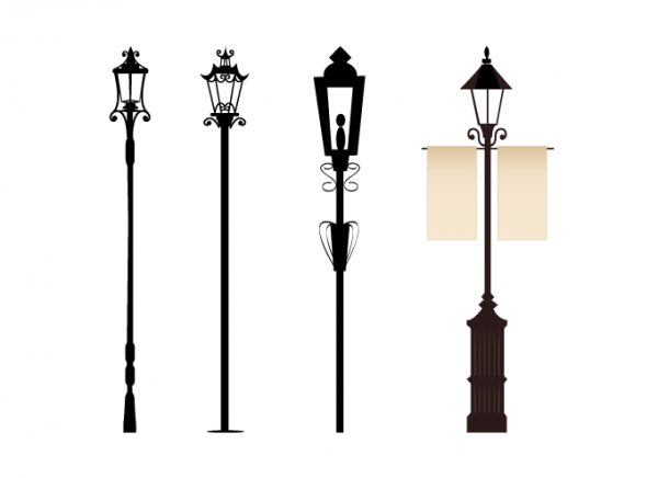 Vintage Street Lights Street Light Silhouette Vector Christmas Lamp Post