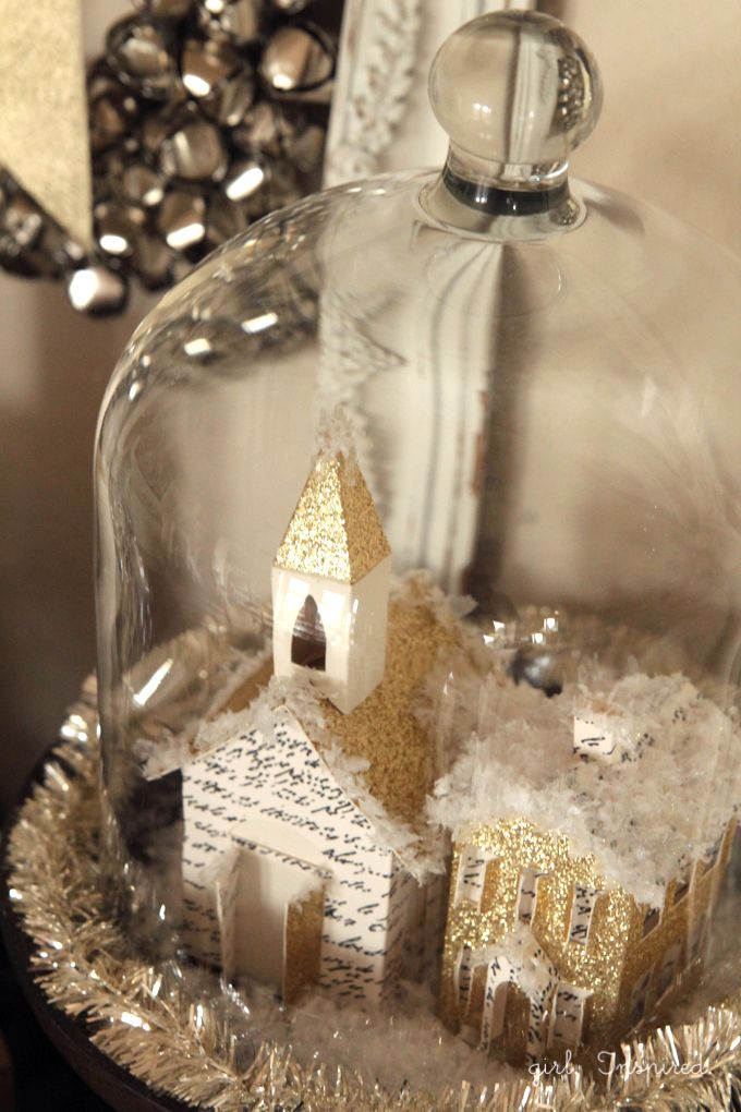 DIY Christmas Village by @girlinspired | Winter Wonderland Village | Cloche Projects