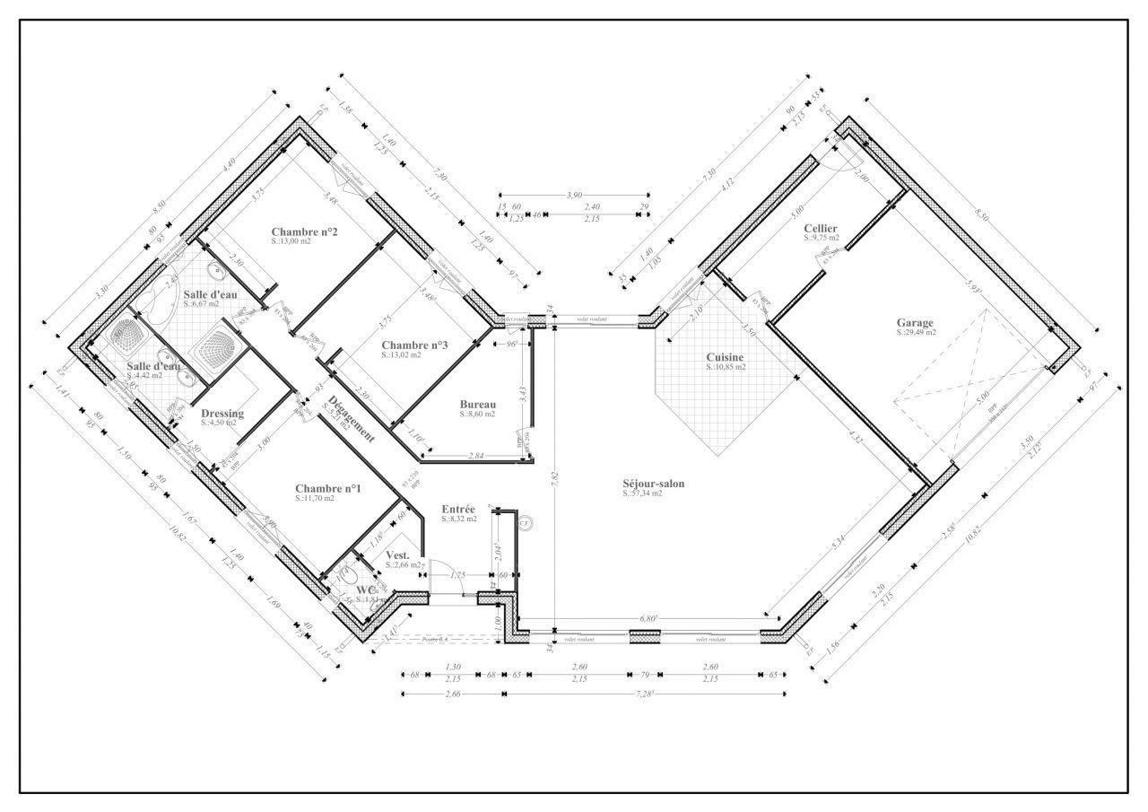 Plan De Maison En V Plain Pied 4 Chambres 11