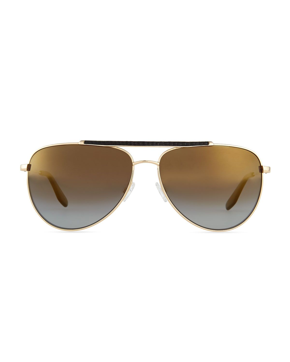 Breed Leather-Detail Mirrored Polarized Aviator Sunglasses, Golden/Nightfall