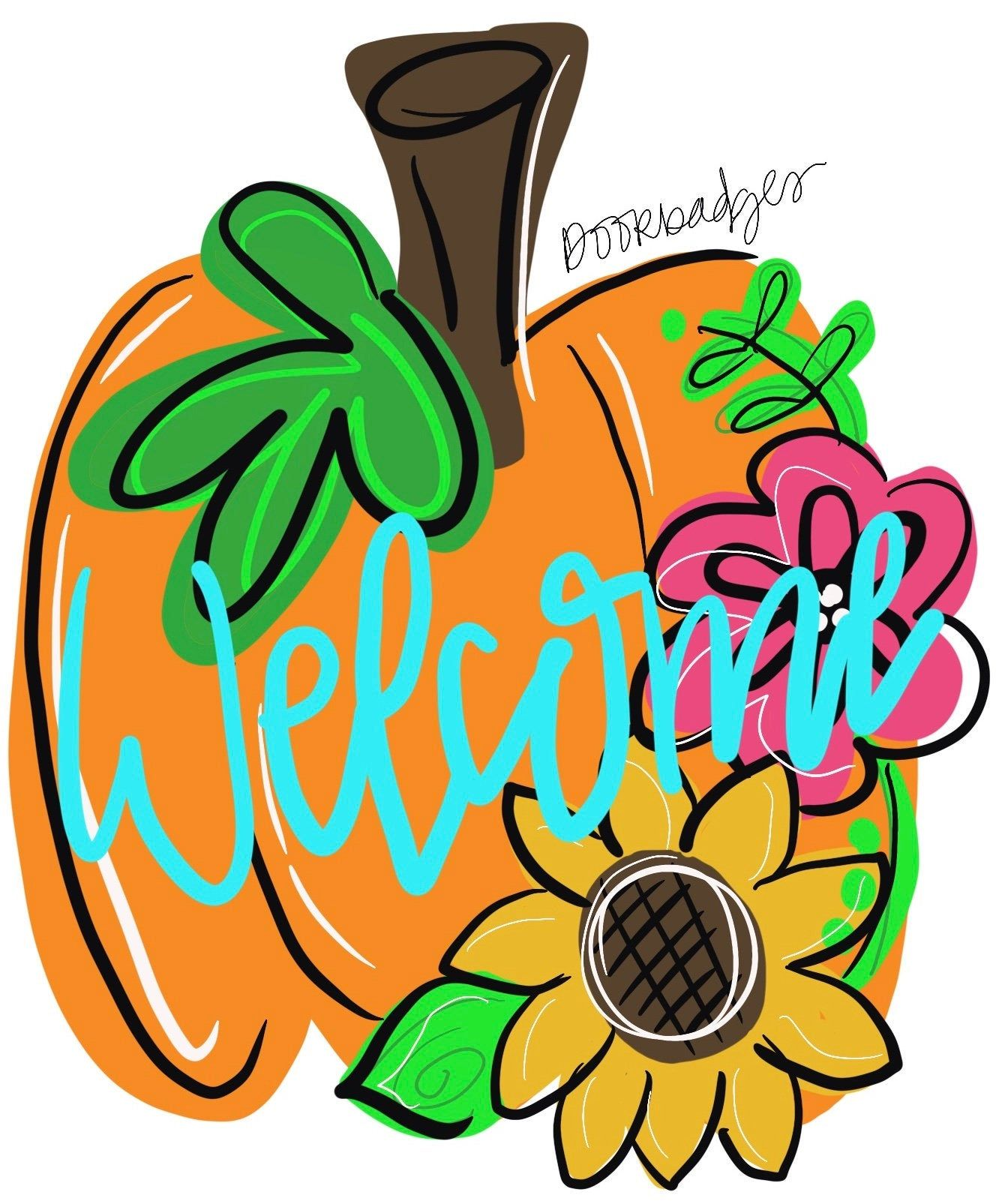 Template Pumpkin With Flowers Door Hanger Download Template