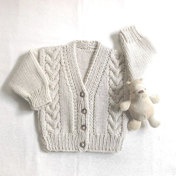 Infant Aran cardigan - 6 to 12 months - Baby Aran hand knit sweater ...