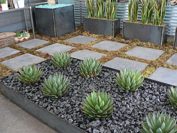 Modern Plant Bed, Black River Rock, & Succulents Modern