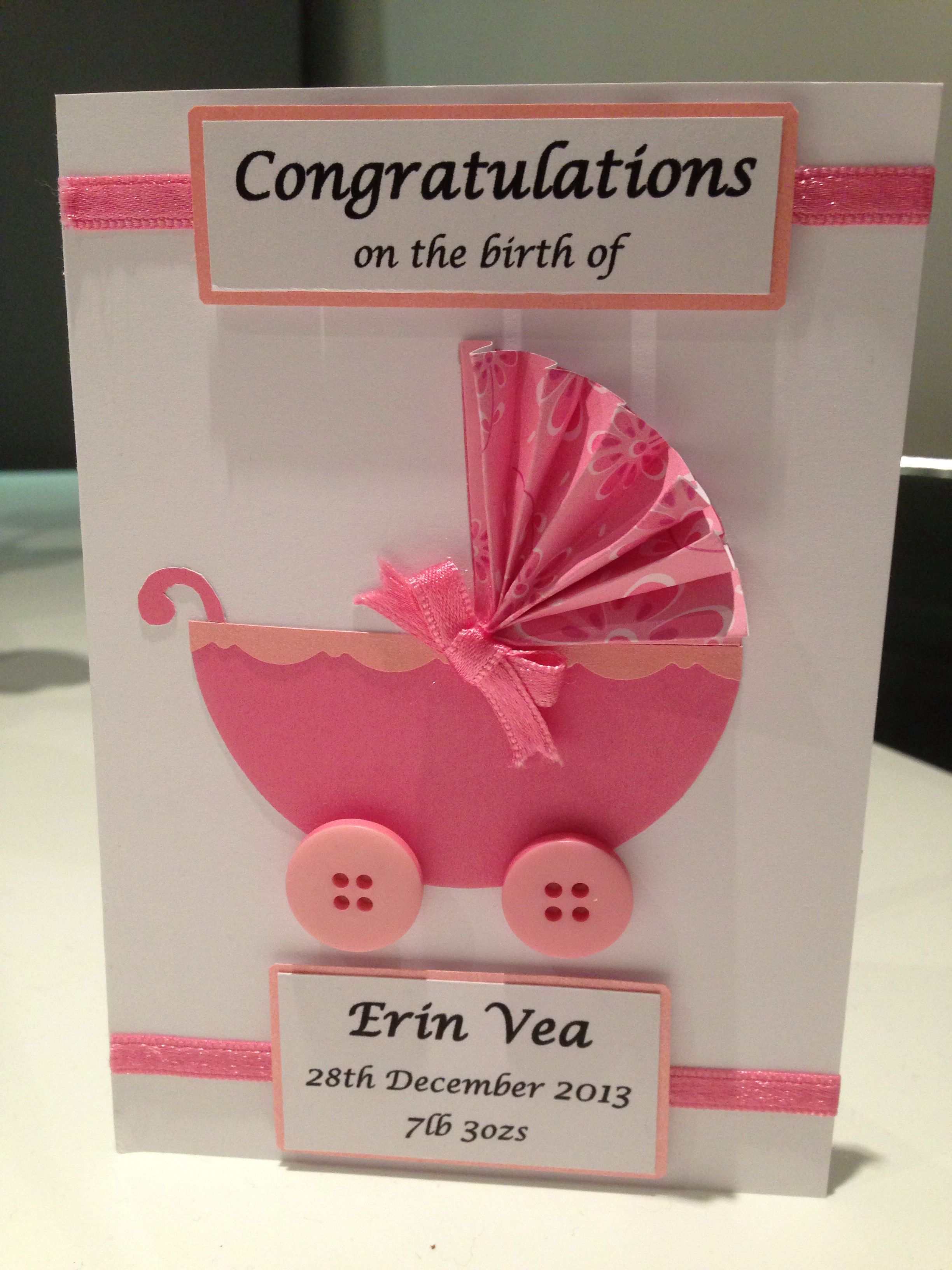 New baby girl card like the canopy of the buggy crafts