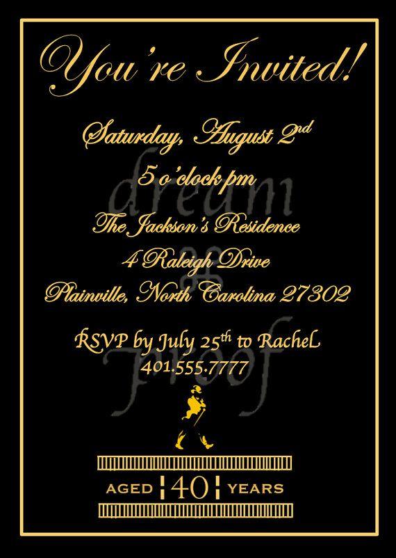 Customizable Johnny Walker Theme Invitation Husband By