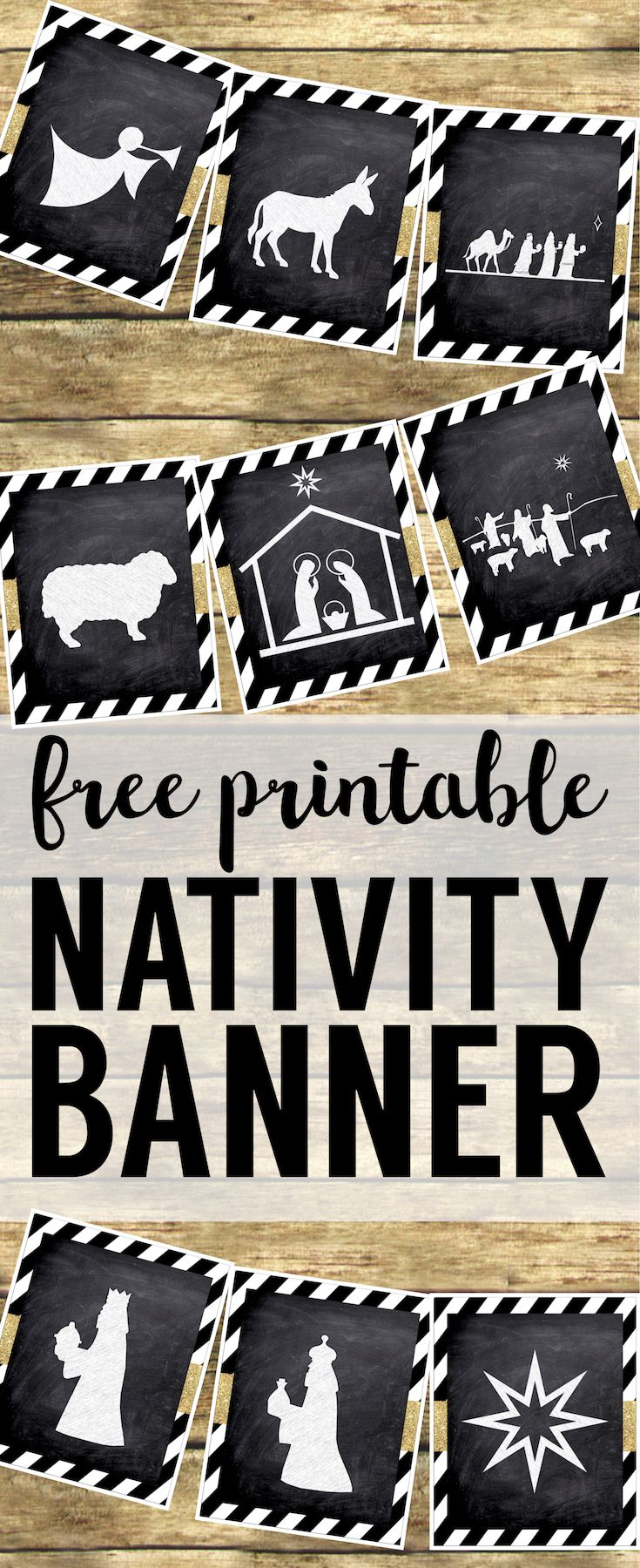 Christmas Nativity Banner free printable. Print this silhouette banner for some easy and cute Christmas decor. These chalkboard nativity signs with gold embellishment are easy Christmas decorations.