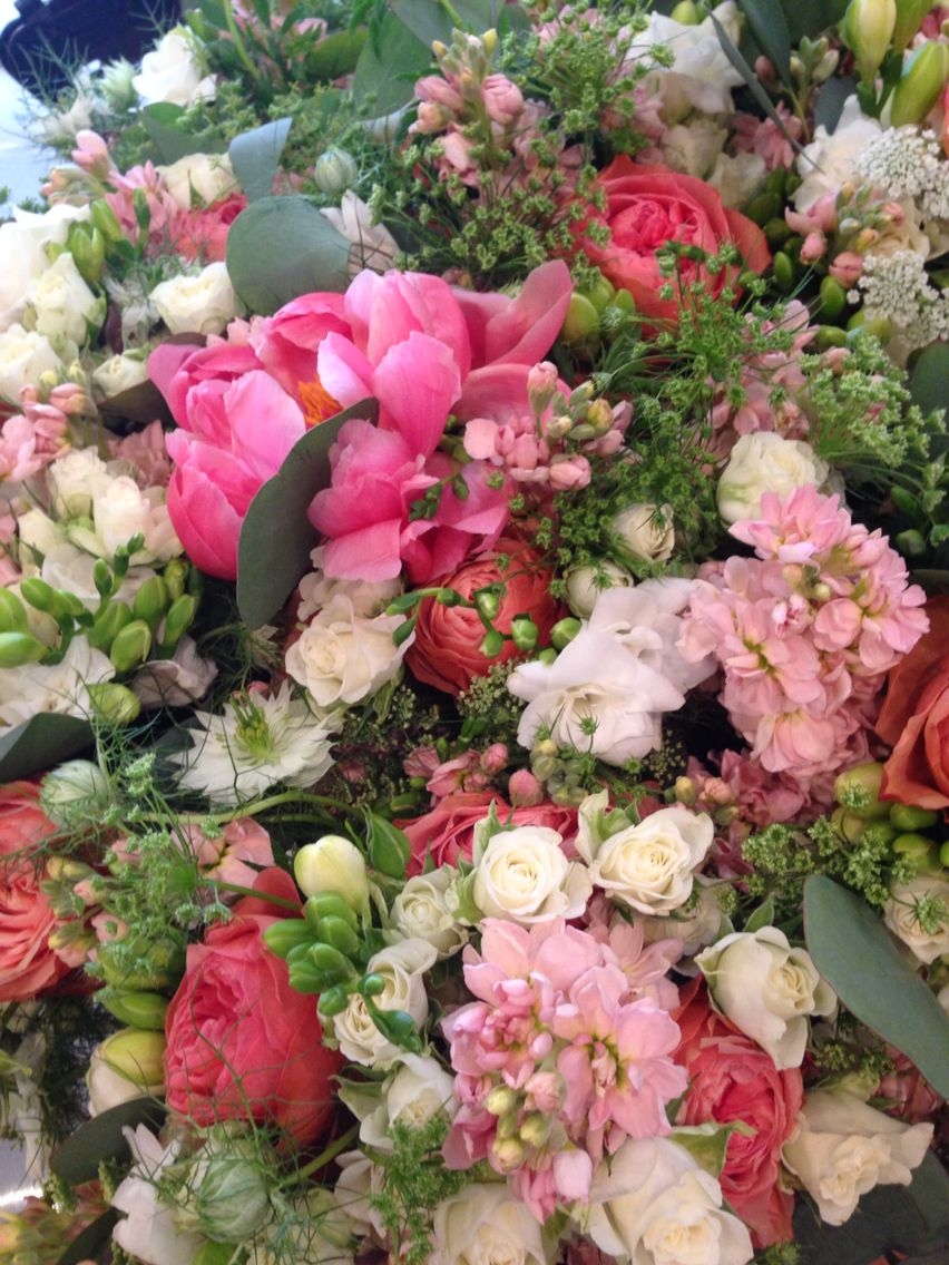 Coral Peach And White Wedding Flowers White Wedding Flowers Wedding Flowers Flowers