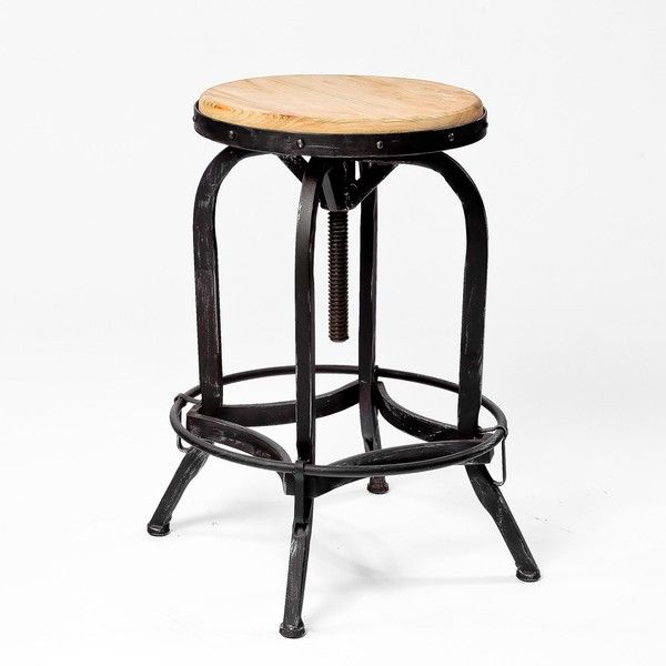 Adjustable Natural Fir Wood Finish Barstool Overstock