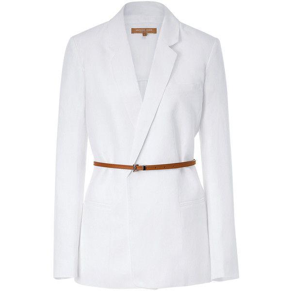 MICHAEL KORS White Linen Buttonless Blazer With Belt ($441 ...