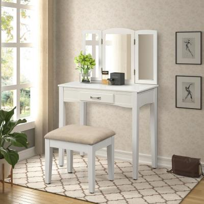 Modern White 2 Piece Vanity Set With Tri Fold Mirror And Stool