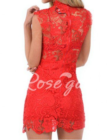 Stylish Stand Collar Sleeveless Bodycon Lace Dress For Women Lace Dresses | RoseGal.com Mobile