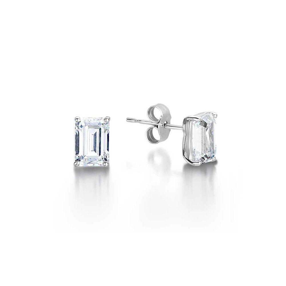 Zara Emerald Cut Diamond Solitaire Stud Earrings