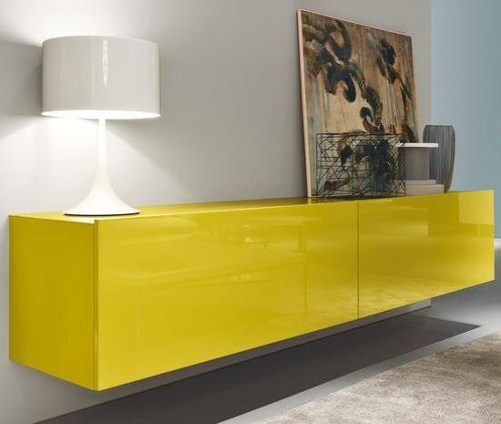 sideboard schwebend lack gelb square misura emme sideboard pinterest fernsehzimmer. Black Bedroom Furniture Sets. Home Design Ideas