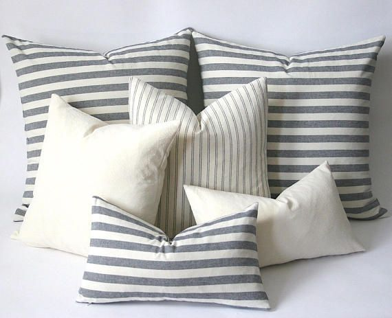 One Pillow Cover In Your Choice Of Fabric And Size From Our Navy And Cream Collection This Is A Triple Was Stripe Pillow Blue Pillow Covers Euro Pillow Covers