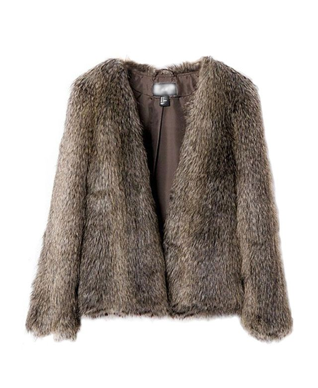 V-neckline Imitated Fur Short Coat