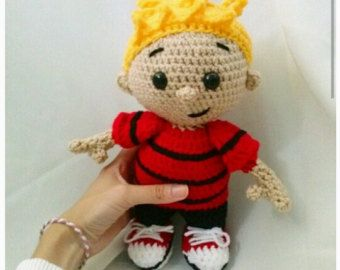 Amigurumi Doll Pattern Book : Crocheted calvin from calvin and hobbes doll amigurumi comic