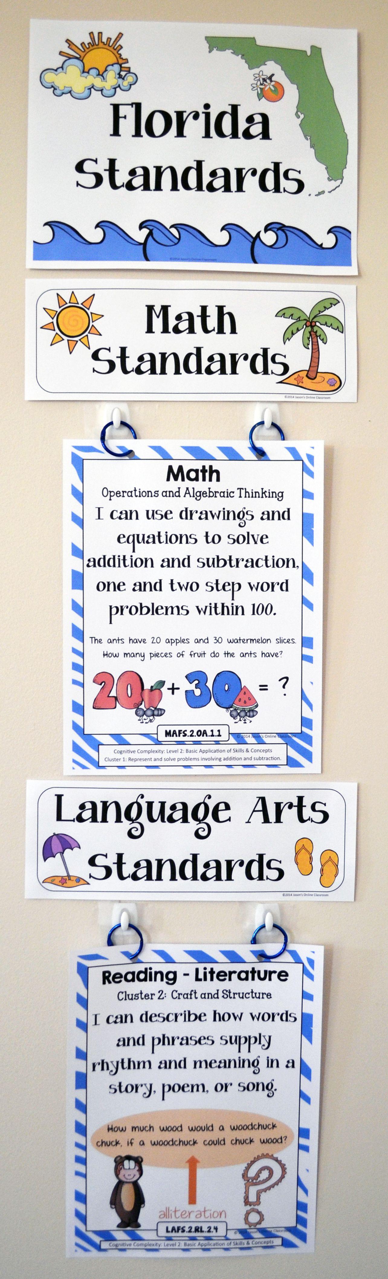 florida standards i can statements math ela 2nd grade full rh pinterest com