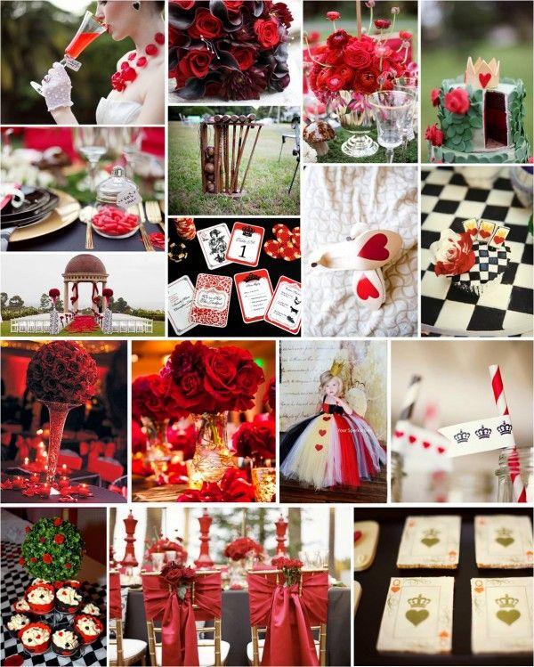 Themed Thursday Queen Of Hearts Wedding Heart Themed Wedding Alice In Wonderland Party Alice In Wonderland Birthday