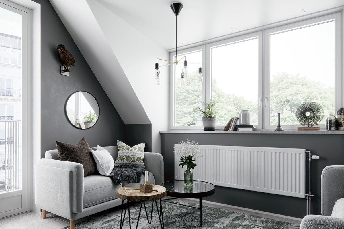 2 Gorgeous Attic Apartments That Use Grey As Base Colour Schemes For Living Room Grey Grey Painted Rooms Living Room Grey Grey color living room