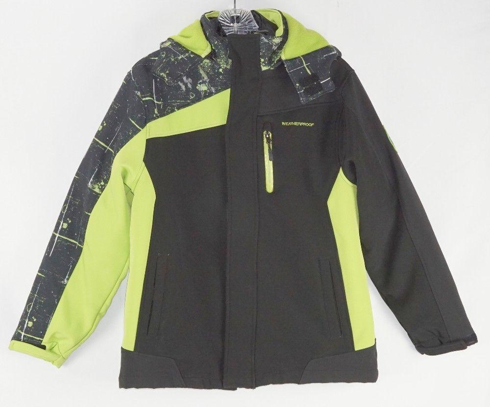Weatherproof Boys Black Neon Green Double Layer Zip Up Winter Jacket L 12 14 Weatherproof Basicjacket Everyday Basic Jackets Jackets Black Neon [ 830 x 1000 Pixel ]