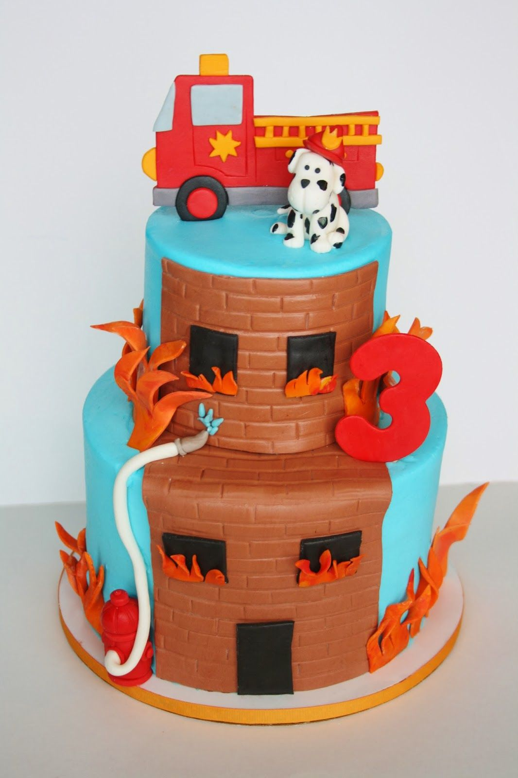 fun and cute firehouse and firetruck cake Cakes for Kids