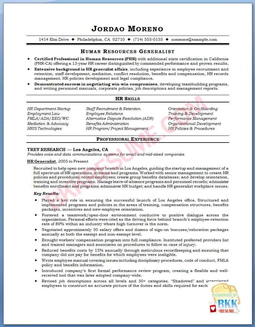 Image Name HR Generalist Resume Sample NxRnIXxh