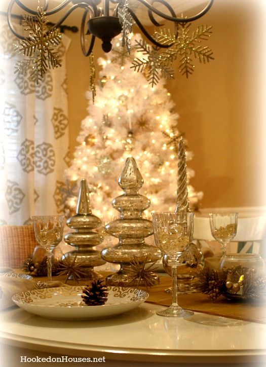 my silver gold dining room its beginning to feel a lot like christmas 2012 - Gold Christmas