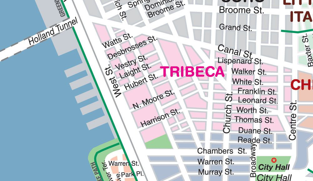 A map of Tribeca, showing that the borders actually extend up to