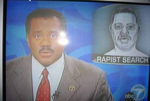 Newsman reporting about a rapist.....