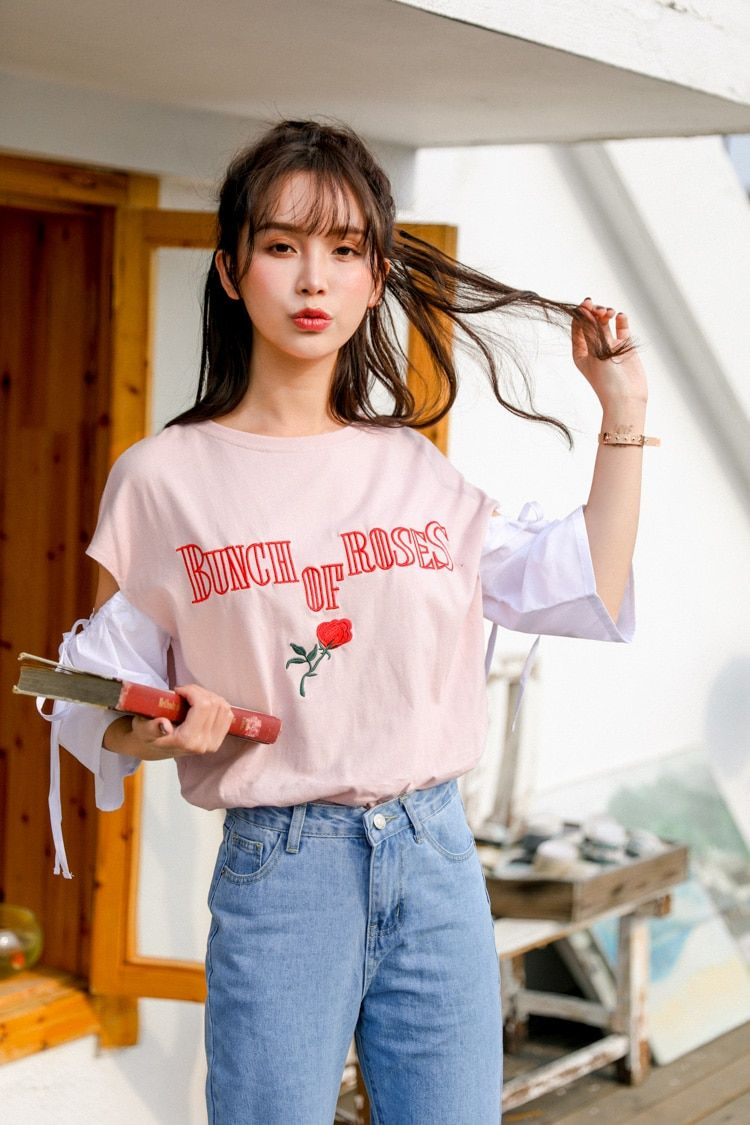 3f58ee0bfed Korean Sweet Letter Rose Embroidery Short Sleeve T-shirt Schoolgirl Summer  Japanese Kawaii Patchwork Oversized