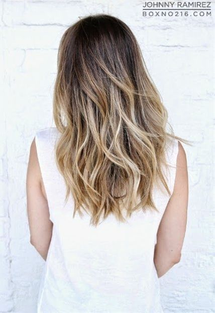 Medium Brown Base With A Fade To Golden Blonde Highlights Hair