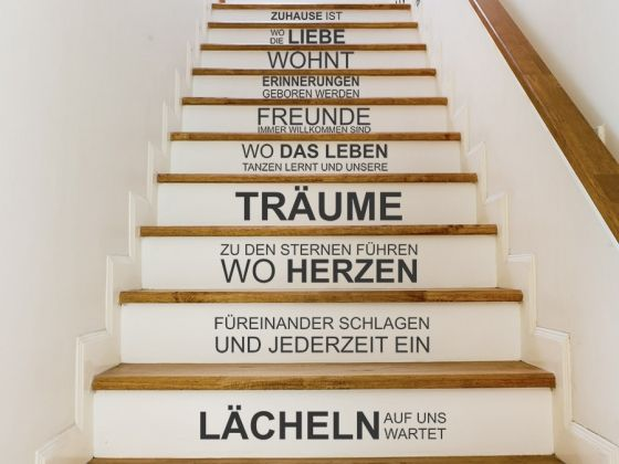treppentattoo zuhause ist wo die liebe wohnt treppenstufen wandtattoos auf die treppe. Black Bedroom Furniture Sets. Home Design Ideas