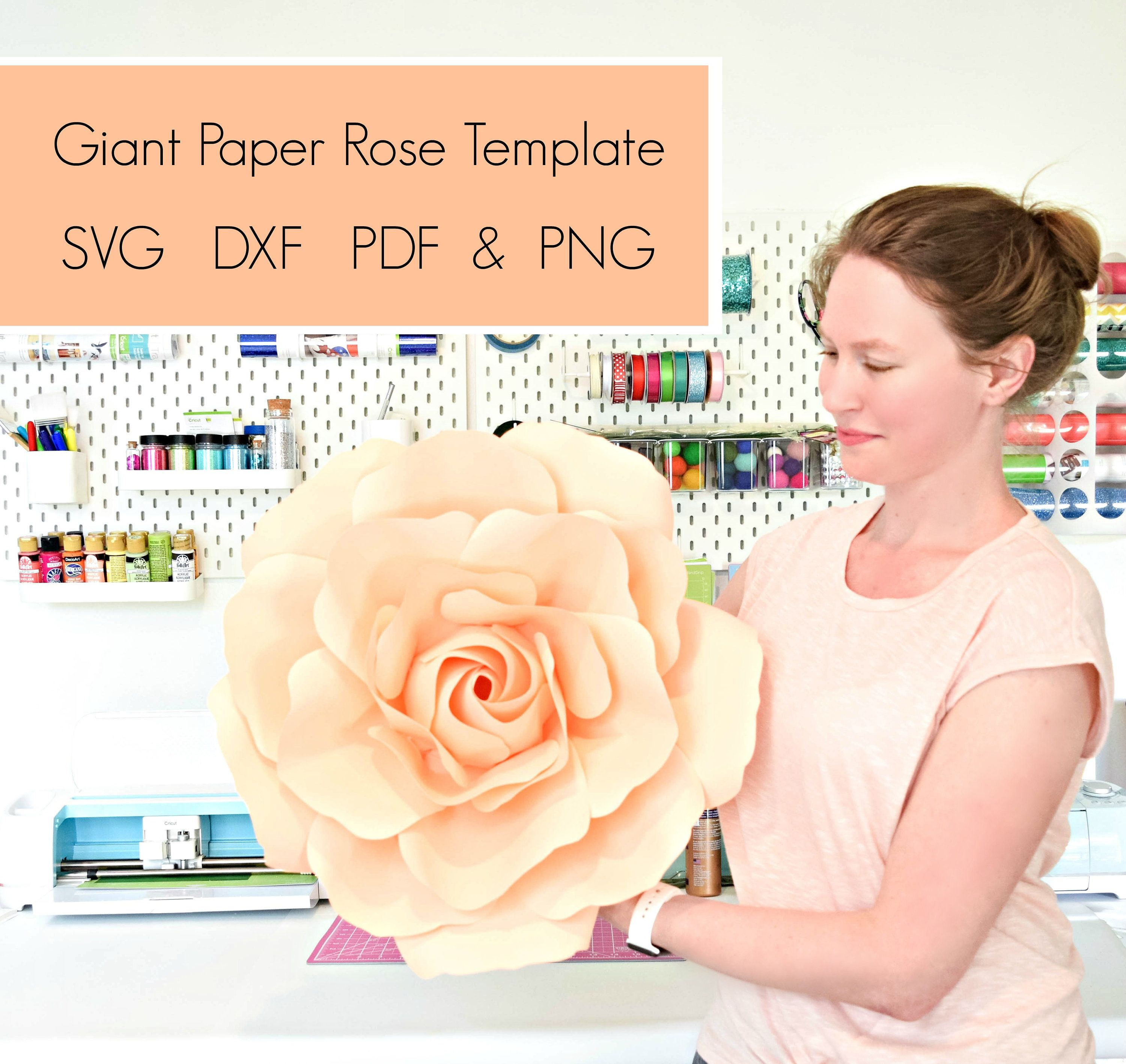 Svg Flower Template Pdf Flower Template Giant Rose Paper Etsy Paper Rose Template Paper Roses Giant Paper Roses