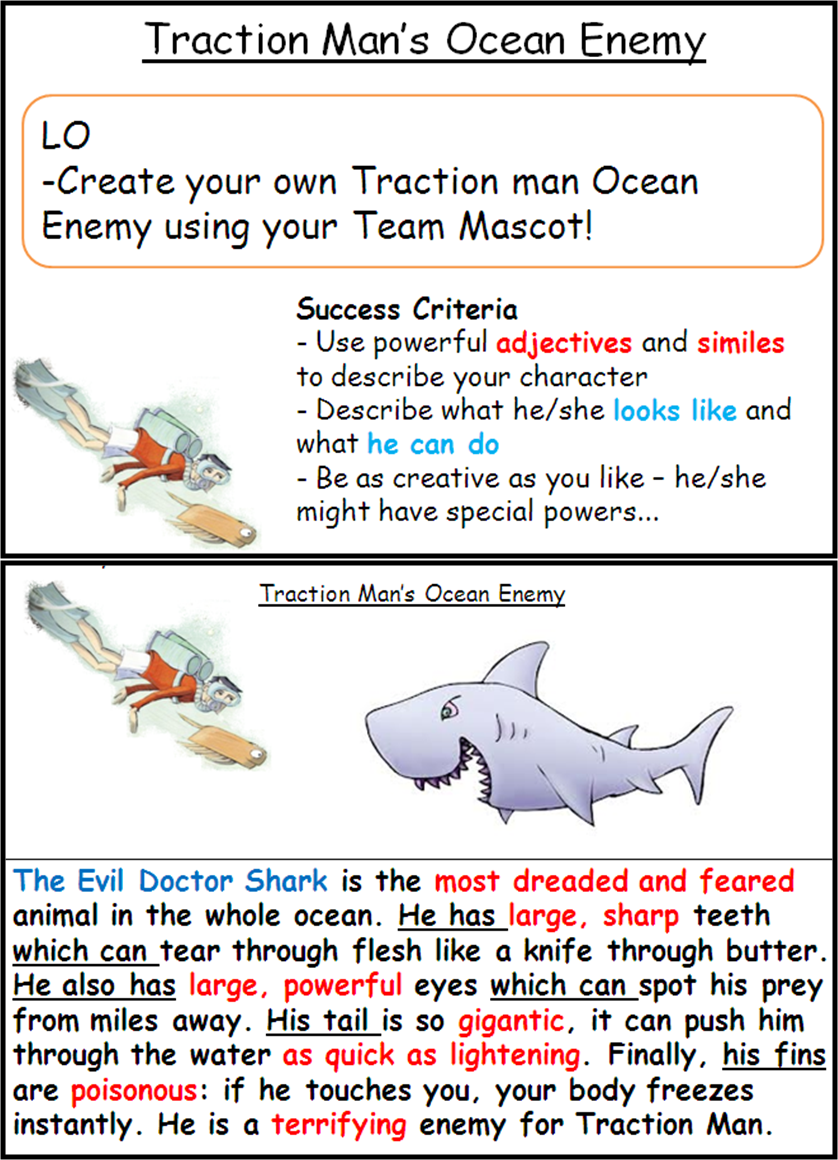 Traction Man Writing Task - designing our own ocean enemy. Focus ...