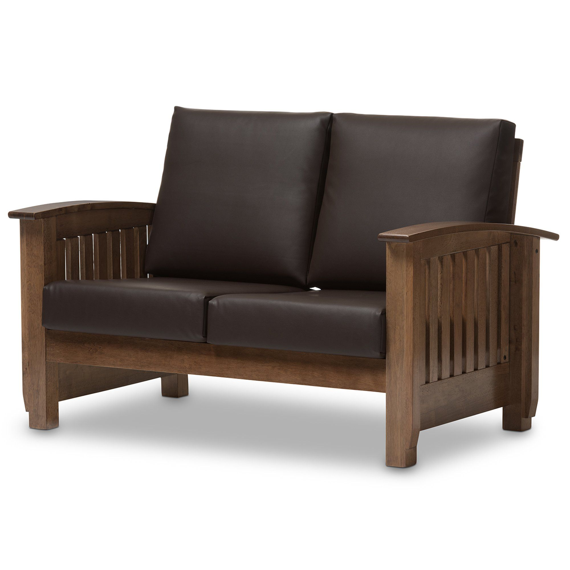 Baxton Studio Chalice Modern Classic Mission Style Walnut Wood