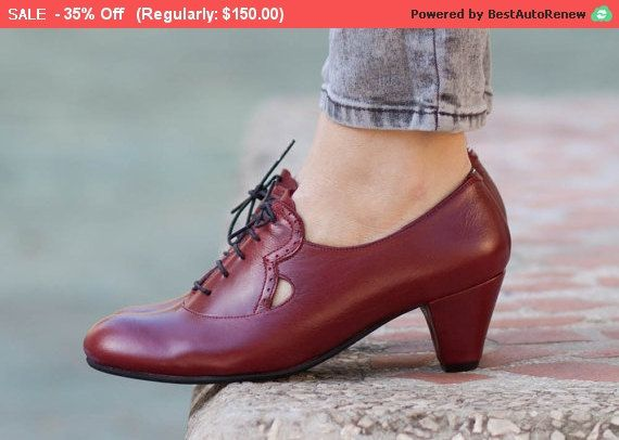 SALE 35% OFF Leather Shoes Leather Pumps Dance Shoes by BangiShop
