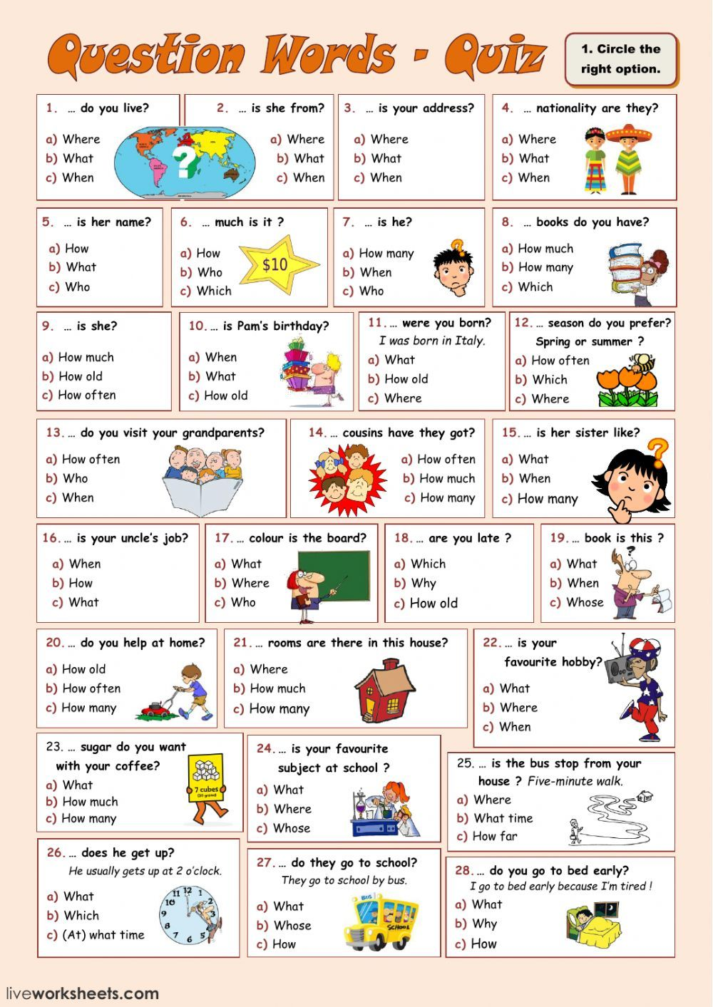 Question Words online and pdf exercise. You can do the